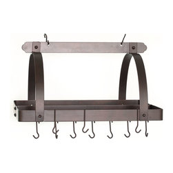 Old Dutch International - Oiled Bronze Pot Rack w/Grid & 24 Hooks - Not to leave you hanging, but this pot rack made of heavy steel is off the hook. Traditional in design and materials, this powerhouse of the kitchen includes a grid and 24 sturdy hooks to keep your cookware frightfully organized and pleasingly within reach.