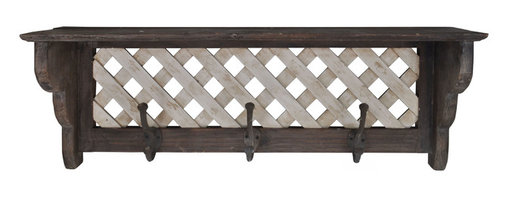 Enchante Accessories Inc - Solid Wood Distressed Wall Shelf with Hooks (White/Natural) - Wood wall shelf with lattice trim and 3 double iron hooks