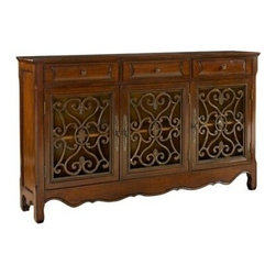 "PWL246-335 - Walnut Wood Finish 3-Door Scroll Console - Walnut wood finish 3-Door Scroll console.  The ""Walnut"" console is full of unique details that add instant drama and class to any room. The decorative curved bottom adds an extra touch of drama to the piece while the scroll details that adorn the front add an extra bit of interest. The console opens with three doors and three drawers to reveal hidden storage space. This is the perfect piece to add to any entryway, hall, bedroom, living area or dining area. Measures 60"" x 12"" x 36"" tall.  Some Assembly May Be Required."