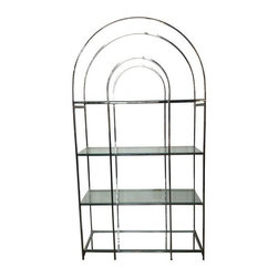 Pre-owned Arch Top Chrome & Glass Etagere - Oooh Shiny! A chrome and glass modern etagere with an arched top provide ultra modern storage and display space. It's so lovely it can be floated in the middle of the room to be admire from all sides. This etagere is in excellent condition save for the ever so slight smattering of pitting on a single bar on one side. See photos.