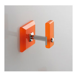 Toscanaluce - Robe Hook with Plexiglass Mount - Stylish, contemporary design robe hook with plexiglass wall mount. Towel hook is made out of brass with a polished chrome finish and plexglass with a blue, green, black, orange, light blue, white, or pink finish. Decorative hook easily mounts to the bathroom wall with screws. Made in Italy by Toscanaluce. Can be mounted with screws or adhesive. Stylish, contemporary style robe hook with plexiglass wall mount. Bath hook is made out of brass with a polished chrome finish and plexglass with a blue, green, black, orange, light blue, white, or pink finish. Decorative shower hook easily mounts to the bathroom wall with screws. From the Toscanaluce Grip Collection.