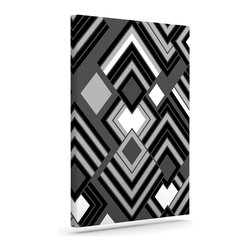 """Kess InHouse - Jacqueline Milton """"Luca - Monochrome"""" Black White Wrapped Art Canvas (30"""" x 24"""") - Bring your outdoor patio to life with this artistic outdoor canvas wrap featuring gorgeous artwork by KESS InHouse. These canvases are not only easy to hang and remove but also are the perfect addition to your patio collection. These canvases are stretched around a wooden frame and are built to withstand the elements and still look artistically fabulous. Decorating your patio and walls with these prints will add the splash of art and color that is needed to bring your patio collection together! With so many size options and artwork to choose from, there is no way to go wrong with these KESS Canvas Wraps!"""