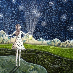 "Gathering Stars (Original) by Shellie Mitchell - ""Gathering Stars"" is one is a series of ""gathering girls"" I have made.  She is out on a beautiful night filling her bucket with fabulous bright stars."