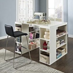 Belham Living - Belham Living Sullivan Counter Height Desk - Vanilla Multicolor - SHX806VA - Shop for Sewing Tables and Cabinets from Hayneedle.com! Make a workspace for all kinds of tasks with the Sullivan Counter Height Table - Vanilla. Plenty of cubbies and shelves on both sides of this counter-height desk provide ample storage space. The open design allows two people to work at this desk at the same time or back it against a wall for a large work surface layout. About Belham Living Belham Living builds catalog-quality furniture in traditional styles at a price that actually makes sense. By listening to our customers and working closely with great manufacturers we build beautiful pieces worthy of your home. Rich wood finishes attention to detail and stylish lines that tie everything together are some of the hallmarks of a Belham Living piece. From the living room or bedroom through the kitchen and out onto the deck there's something from an incredible Belham collection perfect for your style.