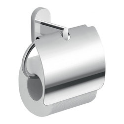Gedy - Chrome Toilet Paper Holder With Cover - Toilet paper holder for the bathroom is made of cromall and stainless steel. Toilet roll holder comes with curved cover. Designed in Italy by Gedy for the Febo collection. Chrome Toilet Paper Holder. Made by Gedy. Part of the Febo collection.