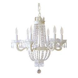 6 Light Vintage Glam Crystal Chandelier - This ornate vintage-inspired 6-light Vintage Glam chandelier has been painted a soft antique white. It is draped with long sparkly crystal chains and decorated with plenty of teardrop prisms, fancy-cut glass bobeches and a gorgeous large crystal ball. Sophisticated, elegant and sparkly, a touch of vintage Glamour...