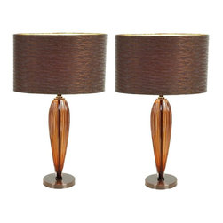 Aspire - Kiara Modern Table Lamp - Set of 2 - Set of 2. Give your space the extra touch that it needs with this set of two modern table lamps. The lamps feature a sleek glass base and a corresponding brown drum shade. Making the shade unique are curving reflective designs woven into the fabric. Metal and Glass. Color/Finish: Brown. UL listed. Uses 60 watt max bulb. 25 in. H x 15.5 in. W x 9 in. D. Shade: 10 in. H x 15.5 in. W x 9 in. D. Weight: 6 lbs.