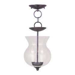 Livex Lighting - Livex Lighting 4392 Legacy Mini Pendant with 2 Lights - Livex Lighting 4392 Legacy Two Light Mini PendantSurrounded by beautiful curvy hand blown glass, the Legacy two light mini pendant is a great way to add some classic handmade beauty to your home. With the option to mount the light with or without a chain, the Legacy is a versatile piece that will enhance the look of any decor.Livex Lighting 4392 Features: