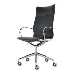 Kubikoff - Mercury Office Chair, Black Leather High Back - Mercury Office Chair