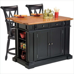 Home Styles - Home Styles Kitchen Island in Black and Oak and Two Bar Stools - Home Styles - Kitchen Carts - 5003949