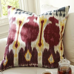 """Zoe Ikat Pillow Cover, 24"""" sq., Multi - Our pillow cover's bold motif and saturated hues are patterned after the silk Bokhara ikat fabrics from Central Asia. 24"""" square Made of pure cotton. Reverses to self. Zipper closure. Insert sold separately; down blend or synthetic. Machine wash. Imported. Read more on our blog about the inspiration behind this product."""