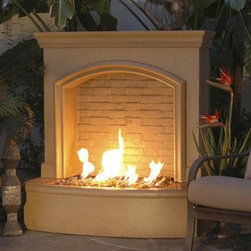 American Fyre Designs Small Firefall - Even smaller outdoor spaces can be grand if you have the American Fyre Designs Small Firefall. Sure to be the showpiece of your graceful backyard or patio, this stunning piece blends fire with water for visual drama. It has the look of a classic fireplace with the allure of a waterfall. Well-crafted and handsome, this outdoor firefall is made of lightweight and durable fiberglass reinforced concrete for use in all climates and comes in Cafe Blanco stone finish to complement your landscape design. The kit includes a rounded hearth, body with arched design and back water wall, and 30 pounds of copper reflective glass. To complete it, this kit also includes a water reservoir, PVC piping, pump, transformer/timer, light fixture, and a bulb. Choose your fuel source (natural gas or liquid propane) and assemble on your existing concrete pad or backyard area.Note: Review any building restrictions or construction permit requirements before installation of an outdoor fireplace. Contact your local zoning commission/homeowners association for details.Contact a licensed contractor for installation as this product may require connection to a natural gas line.About American Fyre DesignsR. H. Peterson Company, a premium gas product manufacturer, launched American Fyre Designs in 2013. This complete line of uniquely designed and handcrafted exterior fire features are meant to meet the growing demand for outdoor living products. Pre-fabricated exterior fireplaces, fire tables, urns, pits, walls and BBQ islands make up this unique line and each item is constructed of durable, lightweight glass fiber reinforced concrete. Everything in the American Fyre Designs line is made in the USA and follows strict quality standards using advanced technology.