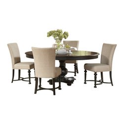 Riverside Furniture - Riverside Furniture Williamsport 6 Piece Dining Table Set in Nutmeg/Kettle Black - Riverside Furniture - Dining Sets - 9265192652KIT6PcDiningSet