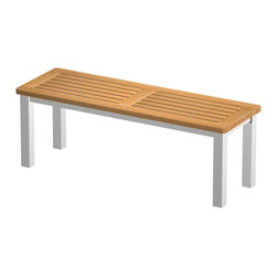 Westminster Teak Furniture - Vogue Teak and Stainless Steel Backless Bench 4ft - Plantation Grown Teak Wood & Stainless Steel Backless Bench, 48 inches long.  Suitable for outdoors, showers, spas and indoors.  Free Return Shipping.