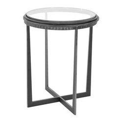 """Charleston Forge - Bauer Drink Table, Textured Black, Mirror - The Bauer Drink Table is a hand-forged masterpiece that features clean strait lines creating a contemporary design. This small iron table works great in small rooms as an accent table, or next to a single chair as a drink table.  Table measures 17.5"""" dia. x 22.25"""" H."""