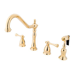 "Kingston Brass - 8"" Widespread Kitchen Faucet with Brass Sprayer - Victorian style Two Handle Deck Mount, 4 hole Sink application, 8"" Widespread, Solid Brass Side Spray, Fabricated from solid brass material for durability and reliability, Premium color finish resist tarnishing and corrosion, 360 degree turn swivel spout, 1/4 turn On/Off water control mechanism, 1/2"" - 14 NPS male threaded inlets, Duraseal washerless valve, 2.2 GPM (8.3 LPM) Max at 60 PSI, Integrated removable aerator, 8-1/4"" spout reach from faucet body, 9-1/4"" overall height, Ten Year Limited Warranty to the original consumer to be free from defects in material and finish.; Sprayer Not Included; 1/4 Turn Washerless Cartridge; Buckingham Lever Handle; PVD polished Brass Finish; 3 Holes Installation with an 8-1/4"" spout reach; Material: Brass; Finish: Polished Brass Finish; Collection: Heritage"