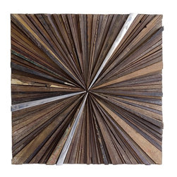 Rotsen Furniture - Ferpas Square Wall Sculpture - Make an artistic statement in your decor that reflects your ecoconscious spirit. This amazing mosaic is crafted from scraps of salvaged wood and polished aluminum to bring one-of-a-kind drama to your favorite contemporary setting.