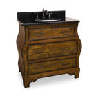 Hardware Resources - Lyn Design VAN009-T Wood Vanity - With curves for days, this shapely vanity will round out your room. Feminine details of floral drawer pulls are balanced by the deep walnut finish and the sturdy structure. The black granite top adds a opaqueness that is grounding and gorgeous to this unique piece.