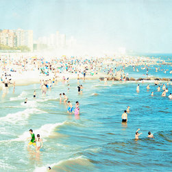 Coney Island Beach Landscape Print, 40x60 - Large Coney Island Beach Print - Summer of 2010. Beach People flock to the shore.
