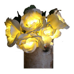 The Firefly Garden - Radiant Roses - Illuminated Floral Design, White and Yellow, Birchwood Vase - Bring the timeless beauty of Roses to your home, with the added feature of lighting. Housed in a selection of vases, Radiant Roses is perfect for a guest bedroom or bathroom. This battery operated floral arrangement is a unique alternative to a night light .The glowing Roses cast subtle and beautiful shadows to accent any space.