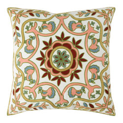 """Best Home Fashions - Peacock and Foliage Embroidered Pillow Covers 18"""""""" x 18"""""""" Pair - Pink - Ornate floral pattern embroidered pillow adds texture and color to your home decor"""