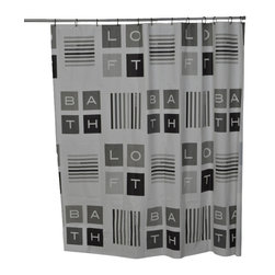 Printed Peva Shower Curtain Peace and Loft Grey - This printed shower curtain Peace and Loft for bathrooms is in Peva (75 % Eva and 25 % polyethylene). It is transparent with letters and stripes and equipped with 12 strengthened eyelets for hanging (12 shower rings needed, sold separately). It will fit perfectly in your shower or bathtub. Prior to hanging, immerse curtain in a bath of warm water to help remove creases. Cleaning with soapy water only. Width 71-Inch and height 71-Inch. Color grey and black. This shower curtain is perfect to add a decorative touch in your bathroom! Complete your Peace and Loft decoration with other products of the same collection. Imported.