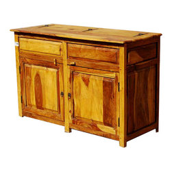 Sierra Living Concepts - Dallas Ranch Solid Wood Rustic Kitchen Sideboard Storage Cabinet NEW - Keep everything in its place with the Dallas Ranch Rustic Kitchen Sideboard Cabinet. The solid Indian Rosewood multi toned storage cabinet doesn?t waste an inch of space. A single wide cabinet space and a flip open counter top will give you space to store even large odd shaped items.