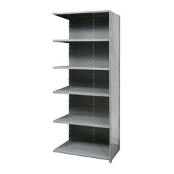 Hallowell - 87 in. High 6-Tier Hi-Tech Medium-Duty Closed Shelving - Adder (36 in. W x 18 in - Depth: 36 in. W x 18 in. D x 87 in. H. Get organized in a snap with this medium-duty shelving unit, crafted of cold rolled steel in gray finish. Designed to link to an existing unit, the adder style closed shelf has six adjustable shelves and is available in your choice of depths so you can find the right size to suit your personal storage needs. Includes 1 beaded front post, 2 angle back posts, 1 back panel and 1 side panel. Great addition to Hi-Tech medium-duty closed shelving starter unit. 6 Adjustable shelves. Fabricated from cold rolled steel. Welds are spaced 3 in. on center to provide maximum strength. Sides are triple flanged to form a channel. All 4 corners are lapped and resistance welded to provide a rigid corner and add extra strength to the shelf. Tubular front edge is designed to protect against impact loads. 36 in. W x 12 in. D x 87 in. H. 36 in. W x 18 in. D x 87 in. H. 36 in. W x 24 in. D x 87 in. H. Assembly required. 1-Year warranty
