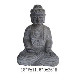 Chinese Antique Stone Sitting Carving Buddha - This is a Chinese antique sitting Buddha which is made of stone. Especially, its body comes with very detail carving on it. It should be a gorgeous garden statue.