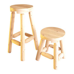 Rustic Cedar - Backless Barstools in. in Light Cedar (24 in.) - Choose Size: 24 in.. If you need some extra seating for your outdoor living space these are the stools that you need to buy!  Not only are they great looking but they are also very sturdy and will stand the test of time.  An added bonus with these stools is that they are very versatile because they do not have backs on them and you can also choose the height of these stools so they can accommodate all of your needs.  A barstool made of quality cedar in your choice of heights.  Horizontal cedar logs adds a sturdy quality to this stool as well as a functional footrest for comfort. * Set of 2 Stools. Diameter of the seat is 13 in.. Weight: 18 in. - 10 lbs. 24 in. - 12 lbs. 30 in. - 15 lbs.