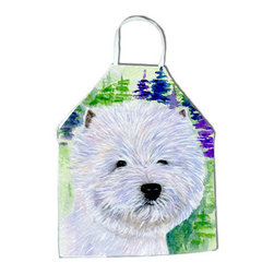 Caroline's Treasures - Westie Apron SS8002APRON - Apron, Bib Style, 27 in H x 31 in W; 100 percent  Ultra Spun Poly, White, braided nylon tie straps, sewn cloth neckband. These bib style aprons are not just for cooking - they are also great for cleaning, gardening, art projects, and other activities, too!