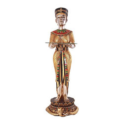 "EttansPalace - 42.5"" Ancient Egyptian Cleopatra Faithful Servant Glass Side Table Statue - A faithful Egyptian servant statue stands and holds steady a glass tray to serve in this artistic synergy of style and function, waiting to be admired from all angles. Our sculpture, cast in quality designer resin and hand-painted in the rich tones of the Egyptian palette, exquisitely displays a 3/8""-thick pane of glass. This display-quality indoor sculpture transforms any home bar, entertainment area or recreation room into something truly magnificent!"