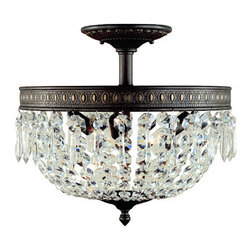 """World Imports - World Imports WI2373 Crystal Semi-Flush Ceiling Fixture from the Timeless Elegan - *3 Light Flush Mount FixtureTimeless for any home and any room of the home. Surprise your guest with a crystal close to ceiling fixture in their closet or bathroom. The perfect size to dress up any room of the home and to be used in multiple rooms to transition from room to room. Solid brass with faceted fire molded crystals that are hand-polished. Three candelabra bulbs needed (not included).Canopy: 6 1/2""""DCeiling Mount"""
