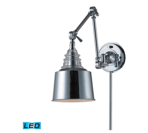 Elk Lighting - Elk Lighting 66805-1-LED Insulator Glass Traditional Swingarm Wall Sconce - Elk Lighting 66805-1-LED Insulator Glass Traditional Swingarm Wall Sconce in Polished Chrome