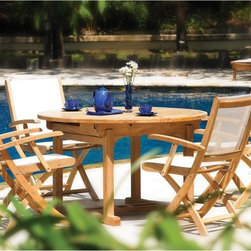 Three Birds - Three Birds Riviera Teak Patio Dining Set - Seats up to 6 - TB146 - Shop for Tables and Chairs Sets from Hayneedle.com! Additional features:Table measures 48 - 72L x 48W x 29H inchesChairs measure 23W x 26D x 37H inchesSeat height: 18 inches; arm height: 26 inchesRound table at 48 inches (not extended) will seat 4 peopleOval table at 72 inches (extended) will seat 6 peopleChairs fold for easy storageHand-applied polished finishWeather-resistant stainless steel and aluminum hardwareMortise-and-tenon joinery with locking wood dowelsChairs come fully assembled; table requires minor assemblyThere's nothing as relaxing as slowing down after a busy day with leisurely al fresco dining. With the Three Birds Riviera Teak Patio Dining Set Seats up to 6 you can enjoy outdoor dinners right in the comfort of your poolside or patio. The set includes a slat-top table that extends from 48-inch round to 72-inch oval and a choice of four or six folding chairs. Crafted from solid Grade A plantation-grown teak the chairs feature top quality Textilene sling seat and back. Woven from polyester yarn and coated with PVC quick-dry Textilene in black or white is the perfect choice for the poolside being fade- and-mildew-resistant virtually maintenance-free and nearly impossible to tear. What's more with the Textilene sling seat and back offering excellent support you and your friends will be seated so comfortably that you might just lose track of time. Choose from black or white slings to complement your setting. The chairs fold easily making off-season storage a breeze. Boasting clean lines and a simple yet stylish design this dining set is designed for years of enjoyment and will help create the essence of a simpler more relaxed ambience around your outdoor seating area.About TeakTeak wood is universally recognized for its quality durability and beauty. Teak is a very hard densely grained wood with high oil content. The unique combination of these characteristics makes teak naturally resistant to moisture rot warping shrinking splintering insects and fungus. It is considered the ideal wood for outdoor furniture.If left untreated teak weathers naturally to a beautiful silver gray color. The weathering process will change the color but the grain will still be smooth. There will be no splitting or splintering. You may treat each piece of your set with teak oil if you wish to retain the original wood color.About Three Birds CasualCommitted to providing premium casual living products in an environmentally-friendly way Three Birds Casual focuses on producing high quality plantation-grown teakwood furniture for the outdoor living market. Three Birds prides itself in not only delivering premium outdoor products but also choosing partners that reflect the high business standards and ethics that are foundations of success for their business.
