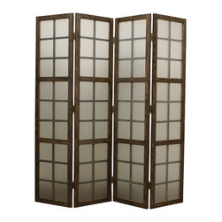 EGLOMISE SCREEN - This is a 4 panel high designed frosted glass screen with washed wooden frame. This stylish contemporary vanity will give living room, office, family room a clean and cool look.