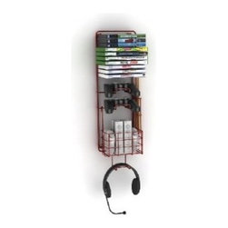 "ATLANTIC - ATLANTIC 38806137 Wall Mount Game Rack - � Space-saving, wall-mounted video game, game controller & gaming accessories storage rack;� Durable steel-rod-frame construction;� Compact design;� Holds 2 standard game controllers, 2 drum sticks, 4 Wii Nunchuks(R), 2 Wii Remote(R) controllers, TV remote, headset & 10 games;� Easy to install;� Includes mounting hardware;� Dim: 24.25""H x 5.44""W x 8.2""D;� 1-year warranty"