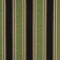 Black Green White And Brown Striped Outdoor Marine Upholstery Fabric By The Yard - This upholstery grade fabric can be used for all indoor and outdoor applications. It is Scotchgarded, and is mildew, fade, water, and bacteria resistant. This fabric is made in America!