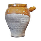 Terra Cotta Pottery - Deep, rich ochre glazed earthenware piece found in the South of France. The top is glazed, the bottom is unglazed.