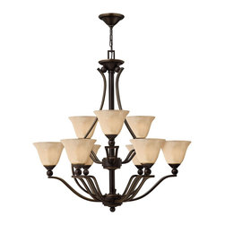Hinkley Lighting - Hinkley Lighting HK-4657-OB Bolla Transitional Chandelier - The graceful lines of Bollas sweeping double arms create a soft elegance  while heavy cast spheres perched at the tips add to its innovative style. The strong proportions of the arms  offered in either Brushed Nickel  Olde Bronze or Brushed Bronze finishe