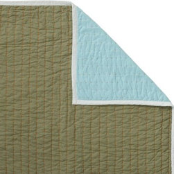 Serena & Lily - Aqua/Army Cabin Quilt - The best of the basics, this all-cotton quilt is the perfect layer for warmer weather. The colors are great, and the running contrast stitch adds just the right amount of texture. Aqua on one side, army on the reverse, with white binding and orange contrast stitch.