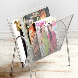Mesh Magazine Holder - This light metal and mesh holder has a modern, functional feel.