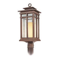 "Troy - Country - Cottage Cottage Grove Collection 22"" High Outdoor Post Light - The Cottage Grove outdoor collection from Troy Lighting offers refined appealing style that's a great match for many homes. The frame comes in a beautiful cottage bronze finish. Clear seeded glass panes combine with an amber scavo glass inner cylinder to create a beautiful glow. A warm inviting look for your exterior. Cottage bronze finish. Clear seeded/amber scavo glass. Takes one 100 watt bulb (not included). 22"" high. 9"" wide. Post not included.  Cottage bronze finish.   Clear seeded/amber scavo glass.   From the Troy Lighting collection.  Takes one 100 watt bulb (not included).   22"" high.   9"" wide.   Post not included."