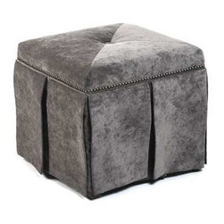 "Zentique - Rachel Cube Ottoman by Zentique - Tightly upholstered linen completely covers the firmly stuffed stool from Zentique. Upper side border is appointed with nail heads for minimal detailing. A center pleat on each side and all corners allows the fabric to hang smoothly. Vanity Mouse may be the perfect color tone for in front of your favorite reading chair. Consider tucking two of them below a console table and use as additional seating when needed. (ZEN) 18"" High x 19.5"" Wide x 19.5"" Deep"