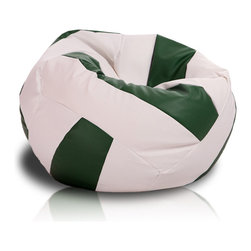 Turbo BeanBags - Beanbag Volleyball, White And Green, Filled Bag - The Voleyball Beanbag is one of the newest products from Turbo BeanBags. Because of its size it's a comfortable chair to sit for a child or make a great addition to a children's room decor. An amazing gift for kids by its innovative design.
