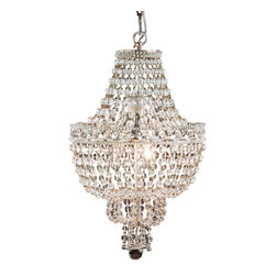 """Inviting Home - Crystal Chandelier - Three-light chandelier with crystal beads uses three candelabra bulbs; 13-1/2"""" x 20-1/2""""H; hand-crafted in Italy; Three-light chandelier with crystal beads; This chandelier uses three candelabra bulbs; made in Italy. UL approved - dry location; hardwire; 3x 60W max. candelabra bulds; bulbs not included. Approx. 6 feet of chain/wire drop provided. Handcrafted in Italy."""