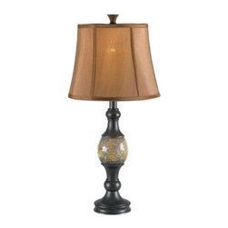"""Kenroy Home - Kenroy Home 21097 Set of Two Traditional / Classic 29.25"""" Single Light Painted R - Set of Two Traditional / Classic 29.25"""" Single Light Painted Resin Table Lamps with Bell Shades from the Shay CollectionThe Crackled Amber glass ball at Shay's center beautifully reflects light, brightening the Oil Rubbed Bronze finish and creating an attractive accent for end tables and nightstands.Features:"""