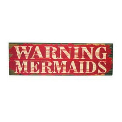 """Handcrafted Model Ships - Wooden Warning Mermaids Beach Sign 32"""" - Wood Beach Sign - Immerse yourself in the warm ambiance of the beach, imagine golden sands between your toes as you listen to the gentle sound of the waves, while you enjoy our Wooden Warning Mermaids Beach Sign 32"""". Perfect for welcoming friends and family, or to advertise a festive party at your beach house, bar, or restaurant, this sign will brighten your life. Place this sign up wherever you may choose, and show guests who enter your room your affinity for the sea lifestyle."""