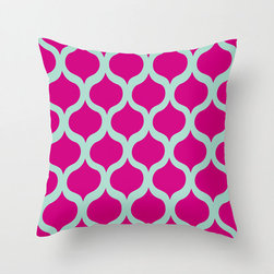 Safi Sunrise Pillow Cover in Magenta - Brighten up your home with a serious pop of color! This cheery pillow cover features a trendy Moroccan tile pattern in hues of light aqua and magenta sure to grab your attention and put a smile on your face.