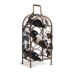 True Fabrications - Wine Rack 7 Bottle Vineyard Metal Rack - This wine rack holds seven bottles in a sturdy wrought iron design. The glass grape accents also add an elegant touch to the design.